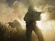 Haze Metal Prints - U.s. Navy Seals During A Combat Scene Metal Print by Tom Weber