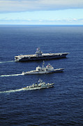 Carrier Prints - U.s. Navy Ships Perform Tactical Print by Stocktrek Images
