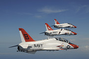 Flight Formation Photos - U.s. Navy T-45 Goshawk Training by Stocktrek Images