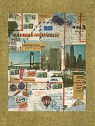 1960 Mixed Media Posters - US Overseas Postage - Collage Poster by Peter Art Print Gallery  - Paintings Photos Posters