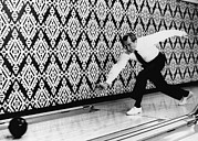 Bowling Alley Prints - U.s. President Richard Nixon, Bowling Print by Everett