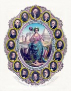 Presidents Framed Prints - US Presidents and Lady Liberty  Framed Print by War Is Hell Store