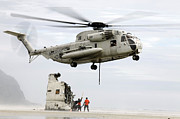 Misfortune Prints - U.s. Sailors Assist A Ch-53d Sea Print by Stocktrek Images