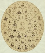 Anti-slavery Framed Prints - U.s. Senators Who Voted Aye On The 13th Framed Print by Everett