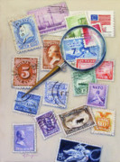 Postage Stamps Paintings - U.S. Stamp Collection by Oz Freedgood