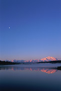 Alaska Lake Prints - Usa, Alaska, Mount Mckinley As Seen From Wonder Lake After Sunrise Print by Paul Souders