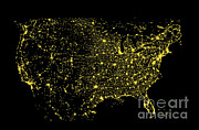Composites Posters - Usa At Night Poster by Science Source