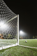 Soccer Net Posters - Usa, California, Ladera Ranch, Football In Front Of Goal Poster by Erik Isakson