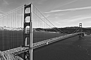 White River Scene Framed Prints - Usa, California, San Francisco, Golden Gate Bridge, (b&w) Framed Print by Dennis Flaherty