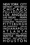 Usa City Map Posters - USA Cities Bus Roll Poster by Michael Tompsett