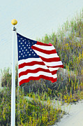 Seascape Greeting Cards Prints - Usa Flag Print by Gerlinde Keating - Keating Associates Inc