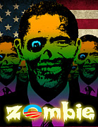 Liberal Digital Art Prints - USA Flag Zombie Obama Horde Print by Robert Phelps