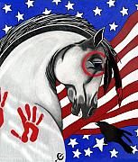 Flag Of Usa Drawings Posters - USA Horse Poster by Wildwood  Artistry