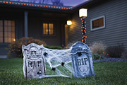 Toy Animals Prints - Usa, Illinois, Metamora, Halloween Gravestone Decoration On Lawn Print by Vstock LLC