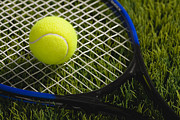 Tennis Racket Posters - Usa, Illinois, Metamora, Tennis Racket And Ball On Grass Poster by Vstock LLC