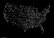 Typography Map Digital Art - USA in Words A Typography Map of America by Stephen Gowland