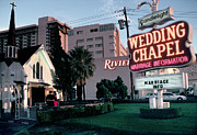 Embracing Prints - Usa, Las Vegas, Neon Sigh Outside Wedding Chapel Print by Jonathan Olley