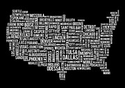 Dallas Digital Art Metal Prints - USA Main Cities Map Metal Print by Cedric Darrigrand