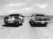 Automotive Drawings - USA Muscle II by Tim Dangaran