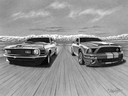 Automotive Drawings - USA Muscle  by Tim Dangaran