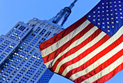 Flag Of Usa Prints - Usa, New York State, New York City, American Flag With Empire State Building In Background Print by Tetra Images