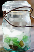 Glass Pebble Prints - Usa, New York State, New York City, Brooklyn, Sea Glass In Jar Print by Jamie Grill