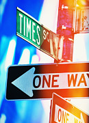 Directional Posters - Usa, New York State, New York City, Times Square, Directional Signs At Night Poster by Tetra Images