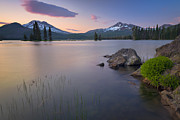 Deschutes Prints - Usa, Oregon, Deschutes County, Sparks Lake At Sunset Print by Gary Weathers