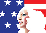 Usa Pin Up Girl Print by Brian Gibbs
