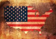 Distressed Mixed Media Posters - USA Star and Stripes Map Poster by Michael Tompsett