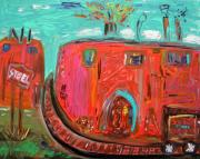 Outsider Art Paintings - USA Steel Still Fascinates by Mary Carol Williams