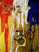 Team Mixed Media Prints - USA Strives For The Gold Print by Debi Pople
