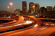 Traffic Art - Usa, Texas, Houston City Skyline And Motorway, Dusk (long Exposure) by George Doyle
