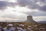 Sun In Cloud Prints - Usa, Utah, Monument Valley, Scenic Landscape With Butte Print by Vstock
