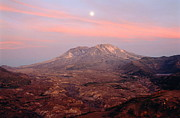 Volcanic Art - Usa, Washington, Moonrise Over Mount St Helens At Sunset by Chuck Pefley
