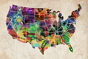 United States Art - USA Watercolor Map by Michael Tompsett