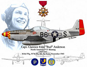Fighter Aces Acrylic Prints - USAF Capt. Bud Anderson Acrylic Print by A Hermann