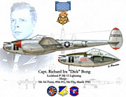 Honor Mixed Media Framed Prints - USAF Capt. Richard Bong Framed Print by A Hermann