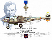 Fighter Aces Acrylic Prints - USAF Col. Charles H. MacDonald Acrylic Print by A Hermann