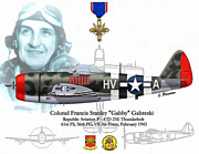 Republic Mixed Media Posters - USAF Col. Francis Gabby Gabreski Poster by A Hermann