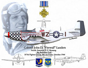 North American P51 Mustang Framed Prints - USAF Col. John D Landers Framed Print by A Hermann
