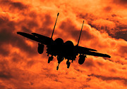 Clare Scott Prints - USAF Strike Eagle F15 E flying into the Sunset Print by Clare Scott