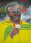 Athletics Mixed Media - Usain Bolt Olympics 2008 by Rajwayne Neufville
