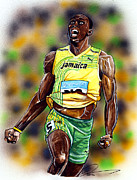 Team Drawings Framed Prints - Usain Bolt...The Worlds Fastest Man Framed Print by Dave Olsen