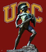 Los Angeles Digital Art Metal Prints - USC Tommy Trojan Metal Print by Tommy Anderson