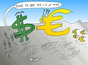 News Mixed Media - USD EUR Trade Cartoon by OptionsClick BlogArt