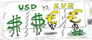 Editorial Cartoon Mixed Media - USD vs. EUR by OptionsClick BlogArt