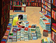 Book Stacks Prints - Used Books Print by David Carson Taylor