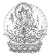 Tibetan Buddhism Drawings Metal Prints - Ushnisha Vijaya Metal Print by Carmen Mensink