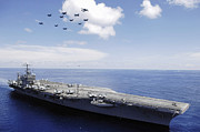Supercarrier Prints - Uss Abraham Lincoln And Aircraft Print by Stocktrek Images